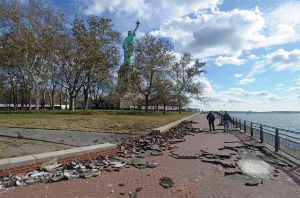 Damage to Liberty Island following Hurricane Sandy. Image source: National Park Service/Daly. By permission of Union of Concerned Scientists.